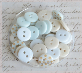 Polka Dot Buttons Eau de Nil. Per 30
