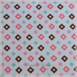 Stickervelletje van stof ruitjes roze/mint/bruin