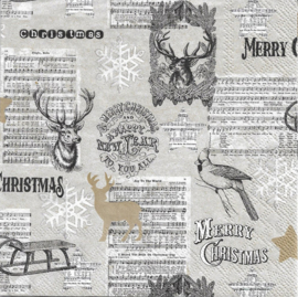 Servetten Merry Christmas. Per 10