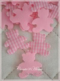 Stoffen beertjes roze-wit. Per 10