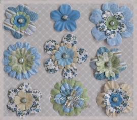 Papieren bloem splitpennetjes, blauw. Per 9