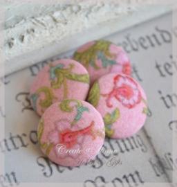 Setje van 4 vintage stoffen knopen, roze bloem