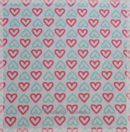Stickervelletje van stof hartjes mint/roze
