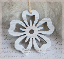 Bloemen hout white wash. Per 4