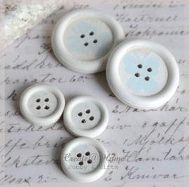 Houten knoopjes wit/lichtblauw. Per 2