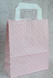 Papieren tasjes roze/wit. Per 5