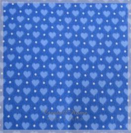 Stickervelletje van stof blauwe hartjes