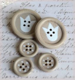 Houten knoopjes taupe/wit. Per 2