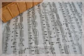 Perkamentpapier met muzieknoten. Per stuk