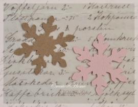 Sneeuwvlokken van linnenpapier in vele kleurtjes & 2 afm. Per 10