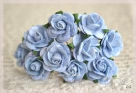 Mulberry roosjes blauw. Per 10
