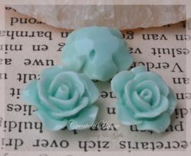 Acryl bloem kralen mint. Per 10
