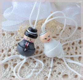 Gelukspoppetje - bruid en bruidegom. Per 5 setjes