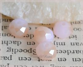 Facet glaskralen disc lichtroze/rosé goud. Per 10