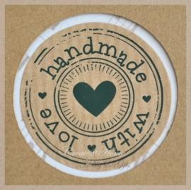 Kraft stickers rond Handmade with love. Per 10