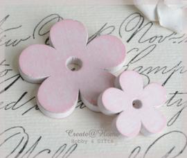Houten bloemen roze wash