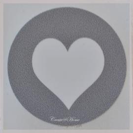Ronde stickers met hartje grijs/wit. Per 10