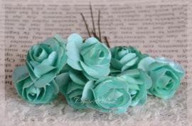 Papieren roosjes zeegroen. Per 10