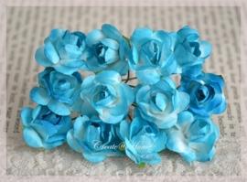 Papieren roosjes turkoois. Per 10