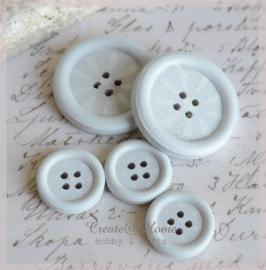 Houten knoopjes lichtblauw/wit. Per 2