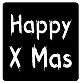 Schoolbord stickers mat zwart Happy X Mas. Per 10