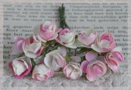 Papieren roosjes lichtroze/gebroken wit. Per 10