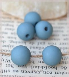 Acryl kralen rond mat petrol blue. Per 10