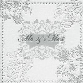 Servetten Mr & Mrs zilver. Per 5