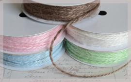 Jute touw 2 draads in 5 kleuren. Per mtr.