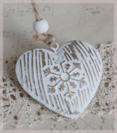 Hart met kraal, zink wit/goud. Per 5