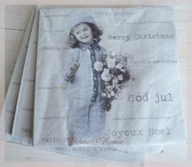 Servetten  vintage Merry Christmas. Per 10