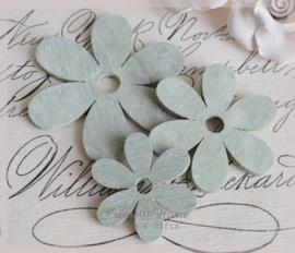 Houten bloemen mint wash
