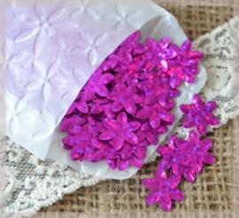 Pergamijn zakje gevuld met 200 hardroze kunststof bloemetjes