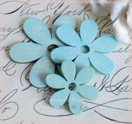 Houten bloemen turkoois
