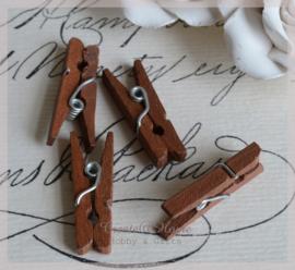 Knijpertjes hout bruin. Per 10