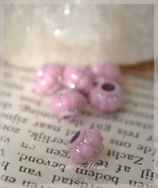 Metal look roze zilver. Per 10