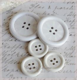 Houten knoopjes lila/wit. Per 2