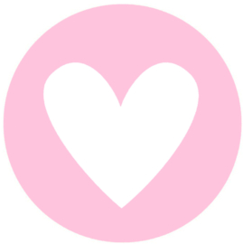 Sticker hartje roze/wit. Per 10