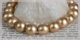 Houten kralen rond goud. Per 10