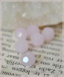 Facet glaskralen rond opal roze. Per 10
