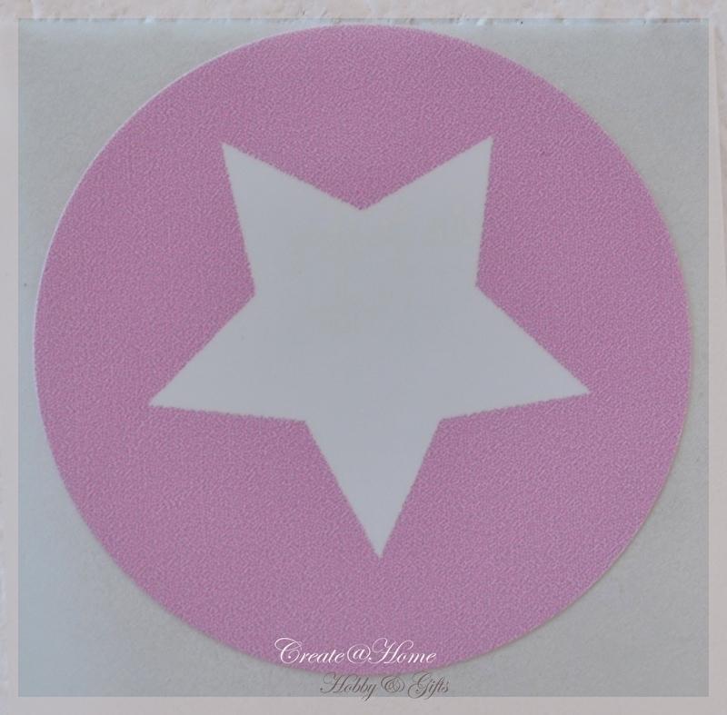 Ronde stickers met ster roze/wit. Per 10