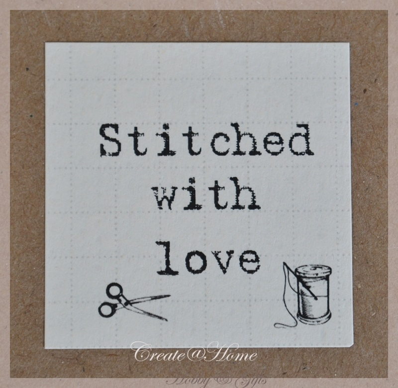 Vintage stickers Stitched with love. Per 5