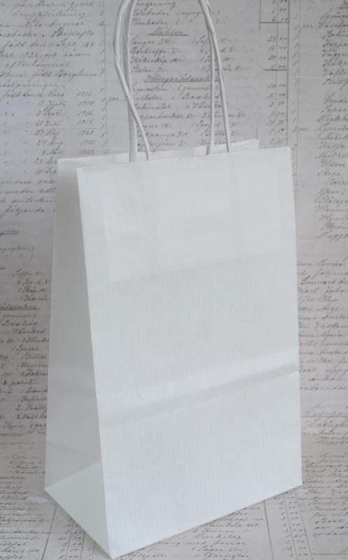 Papieren tasjes kraft wit. Per 5