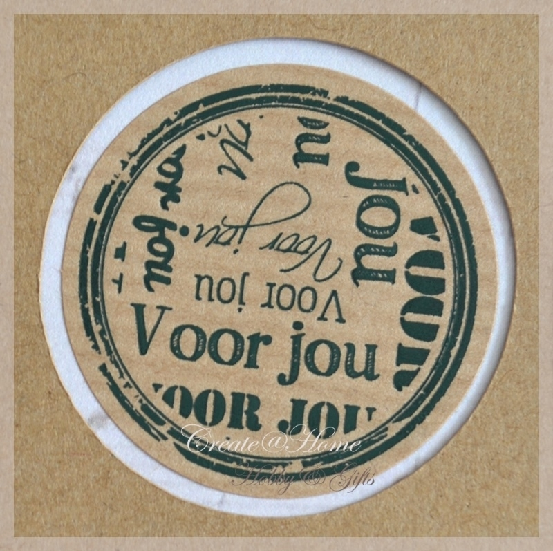 Kraft stickers rond Voor jou. Per 10