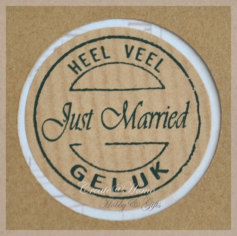 Kraft stickers rond Just married. Per 10