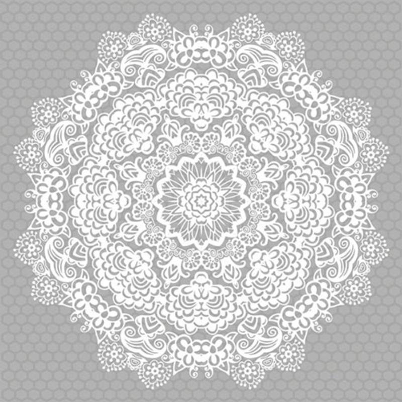 Servetten lace flower silver in 2 afm. Per 10