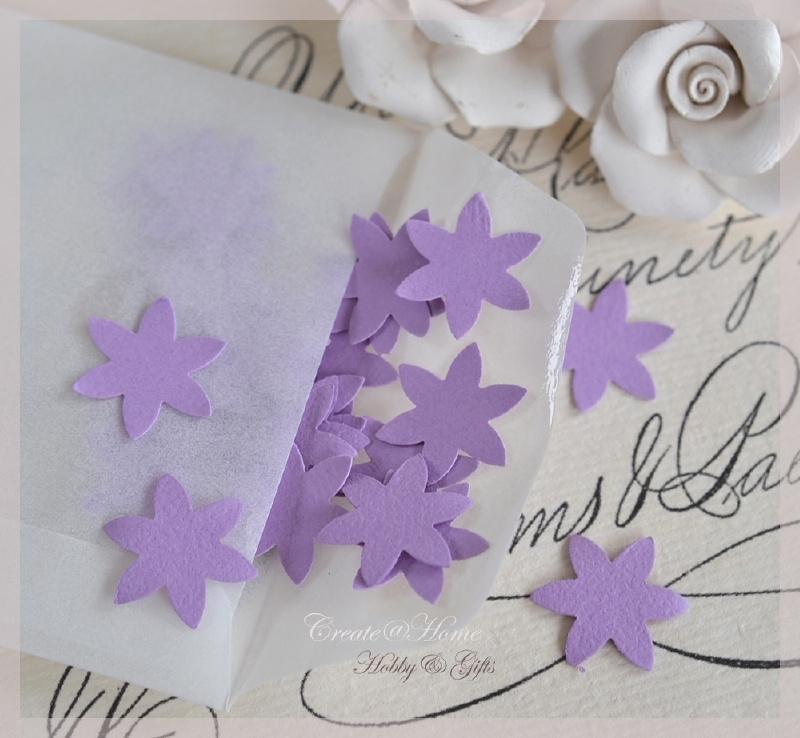 Pergamijn loonzakje met bloem/sterretjes in vele kleurtjes