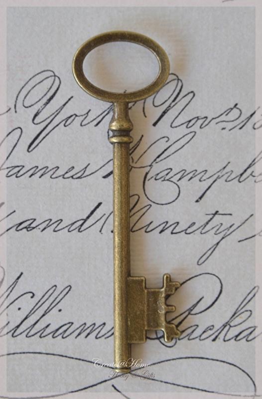 Brocante bronskleurige skeleton key sleutels. Per 3