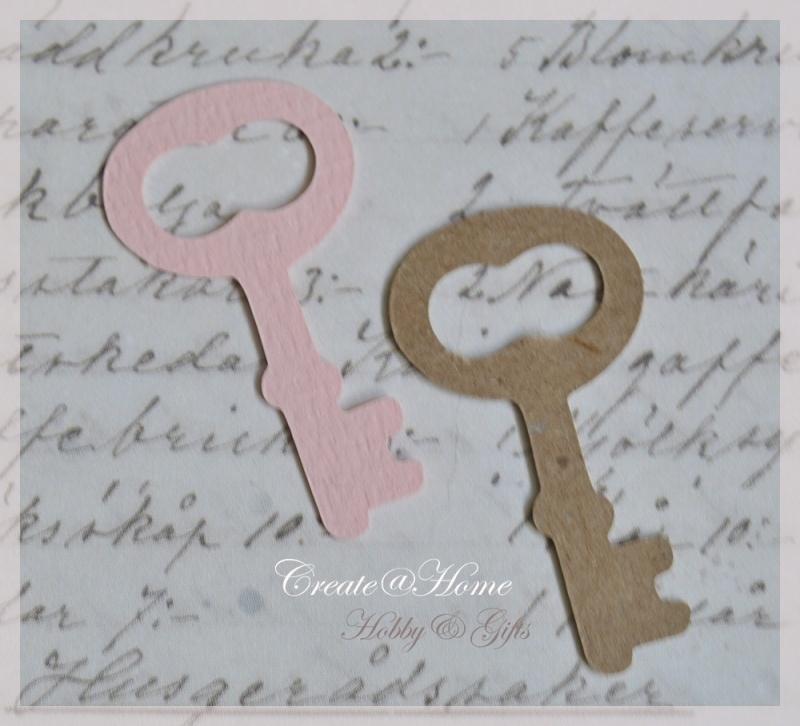 Sleutels van linnenpapier in vele kleurtjes & 5 afm. Per 10