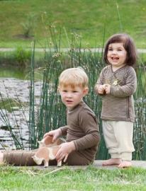 Engel wol/zijden baby longsleeve, walnoot